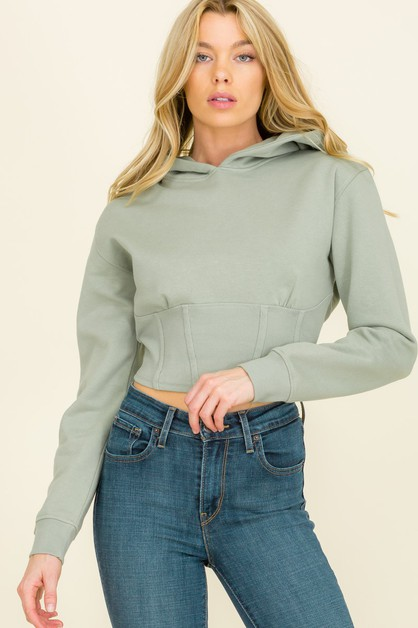 CROPPED HOODED SWEATSHIRT TOP - orangeshine.com