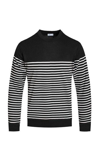 ROUND NECK STRIPED SWEATER - orangeshine.com