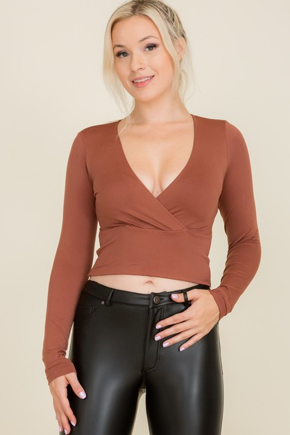 V-neck Long sleeve Cropped top - orangeshine.com
