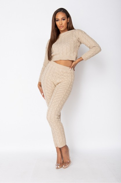 Cable Knit Jogger Lounge Set - orangeshine.com
