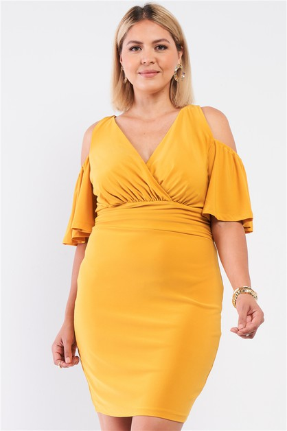 Plunging Wrap Fitted Mini Dress - orangeshine.com