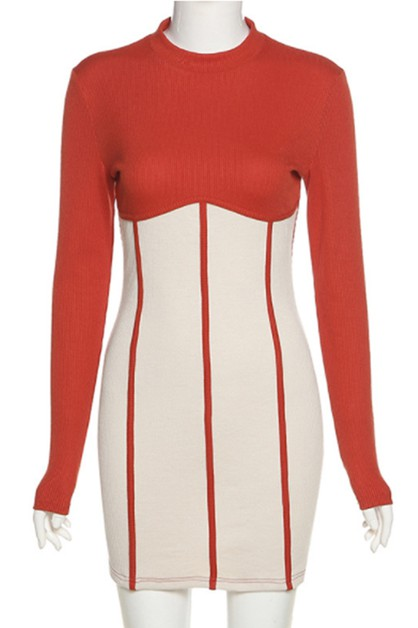 round neck long sleeves dress - orangeshine.com