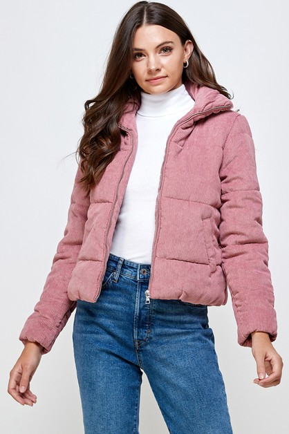 GIRLS ZIP UP CORDUROY PADDED JACKET - orangeshine.com