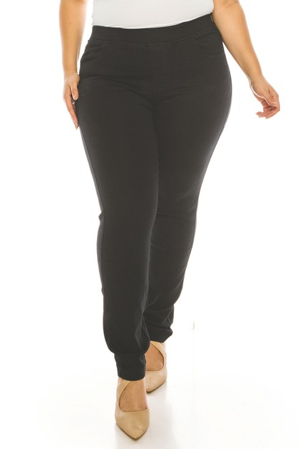 Plus size solid color pull on jeggin - orangeshine.com