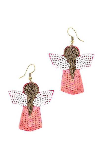 SEED BEAD ANGEL HOOK EARRING - orangeshine.com