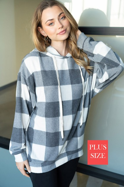 Long Sleeve Plaid Knit Sweater - orangeshine.com