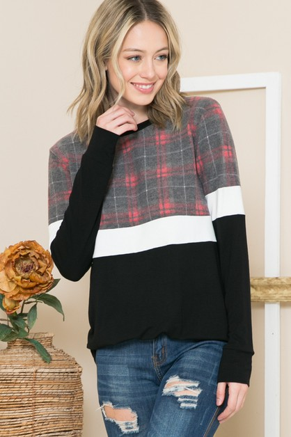 PLAID AND SOLID COLOR BLOCK TUNIC TO - orangeshine.com