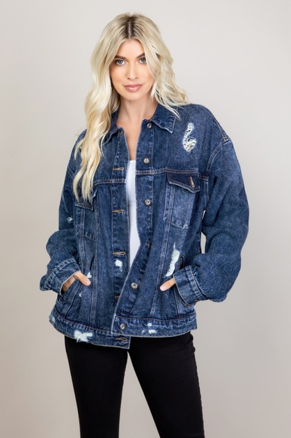 OVERSIZED DENIM JACKET DISTRESSED - orangeshine.com