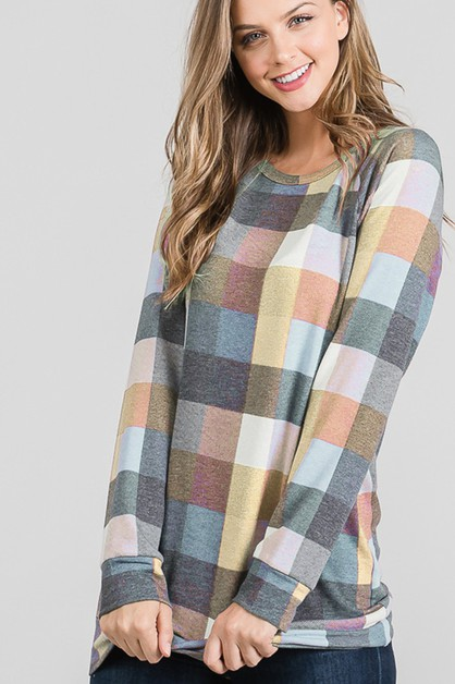 MULTI COLOR PLAID PRINT TOP - orangeshine.com