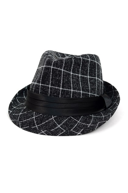 Fall Winter Plaid Trilby Fedora Hat - orangeshine.com