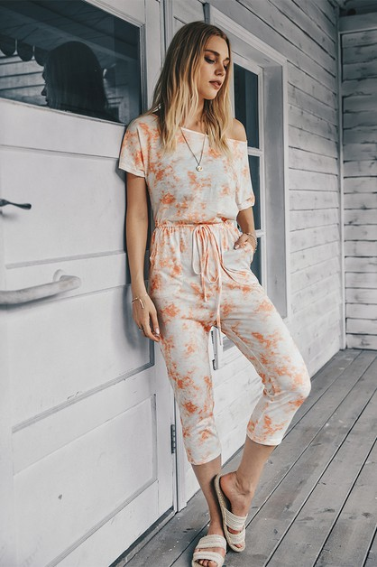 One Shoulder Drawstring Jumpsuit - orangeshine.com