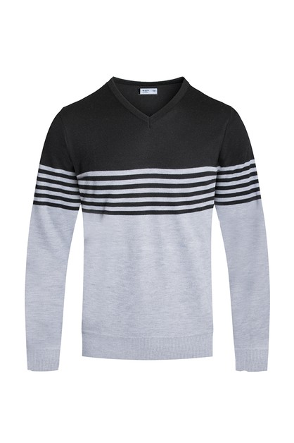 STRIPED KNITTED SWEATER - orangeshine.com