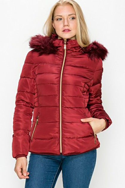 PUFFER JACKET WITH FAUX FUR HOODED - orangeshine.com