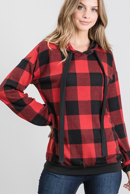 PLAID AND SOLID HOODED TOP - orangeshine.com