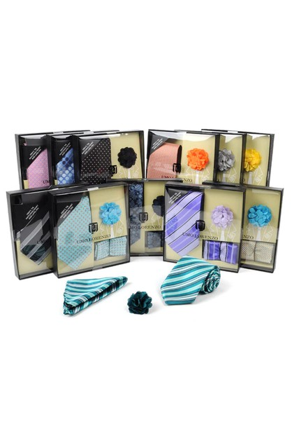 12pc Assorted Tie Hanky Lapel Pin - orangeshine.com