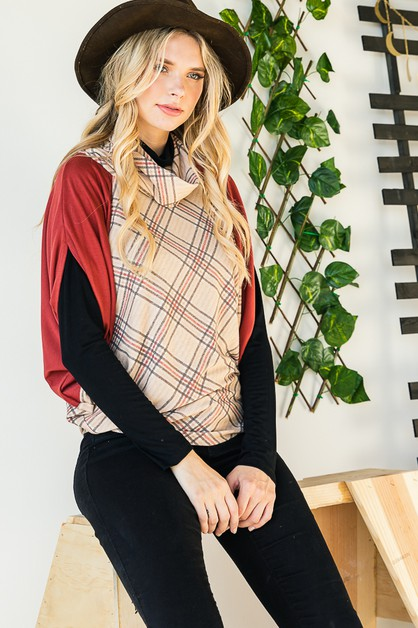 PLAID COWL NECK TOP - orangeshine.com