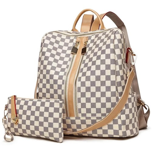 2 PC Checkered backpack wallet set - orangeshine.com