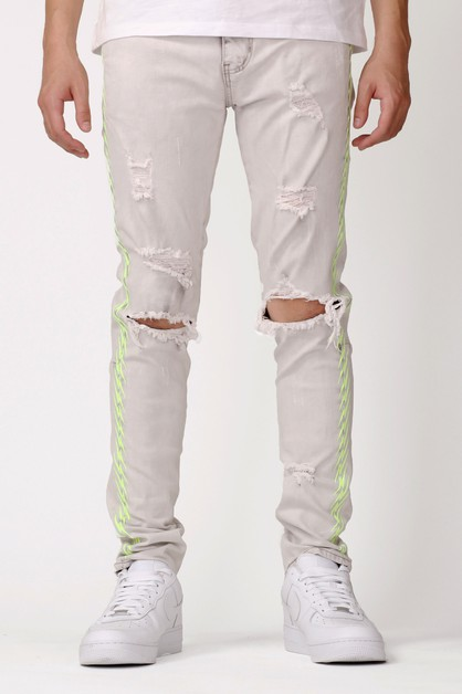 NEON EMBROIDERED JEANS - orangeshine.com