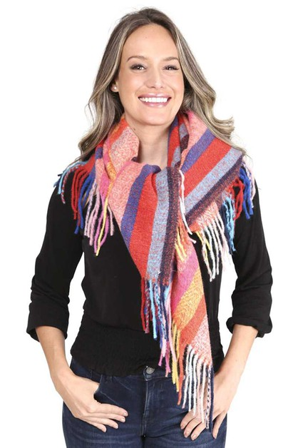 STRIPES BLANKET SCARF WITH FRINGES - orangeshine.com