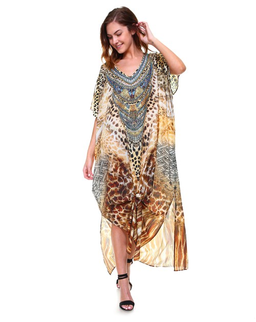 Embellished Fashion Beach Kaftan - orangeshine.com