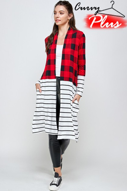 PLAID PRINT N STRIPE LONG CARDIGAN - orangeshine.com