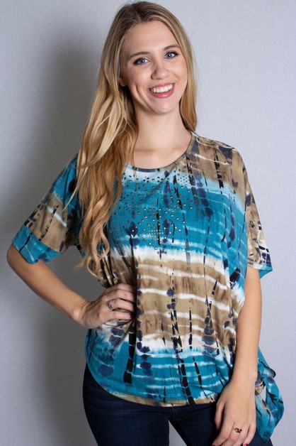 Tie Dye Top with Side Knot Detail - orangeshine.com