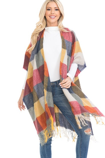 MULTI-COLOR CHECKER SHAWL PONCHO - orangeshine.com