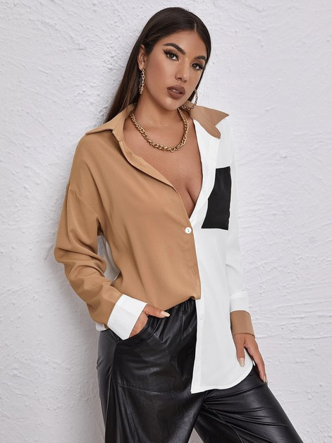 Women Contrast Color Blouse Shirt - orangeshine.com