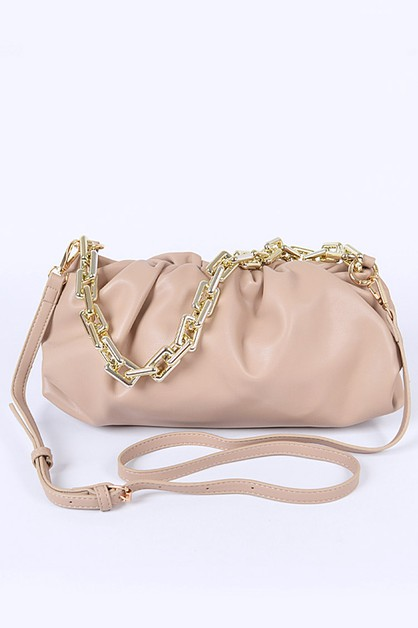 Chunky Chain Pleated Puff Bag - orangeshine.com
