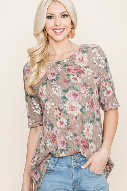 RELAXED FIT FLORAL PRINT TOP - orangeshine.com