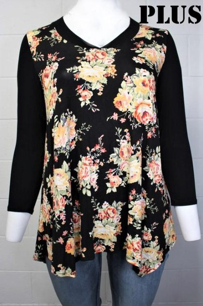 V-Neck Floral Print Top - orangeshine.com