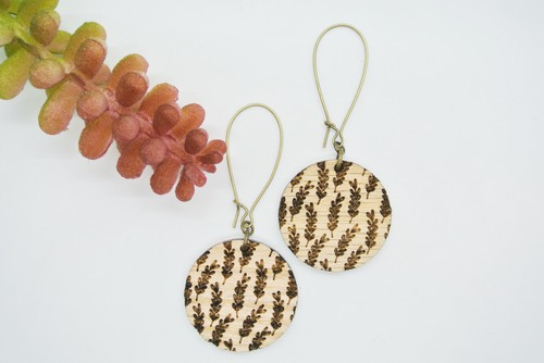 Botanical Engraved Wood Earrings - orangeshine.com