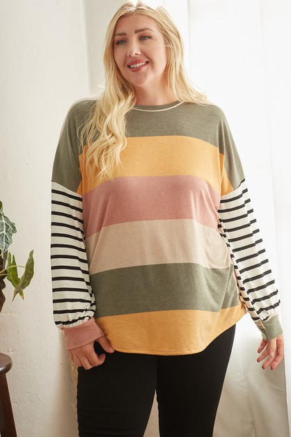 PLUS - COLOR BLOCK LONG SLEEVE TOP - orangeshine.com