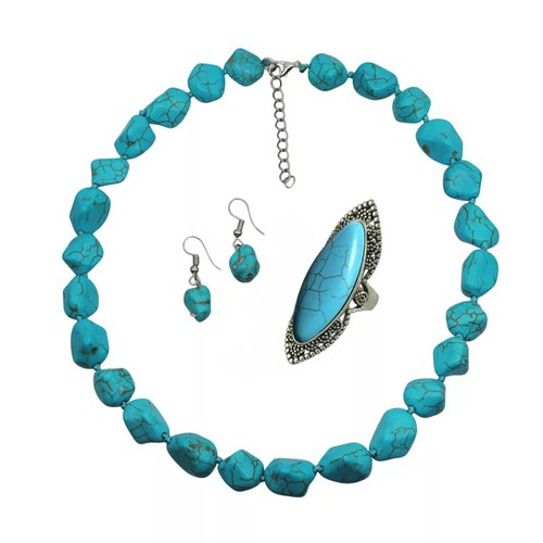 3 pc turquoise necklace set  - orangeshine.com