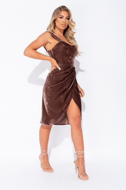 Velvet Wrapover Midi Dress - orangeshine.com