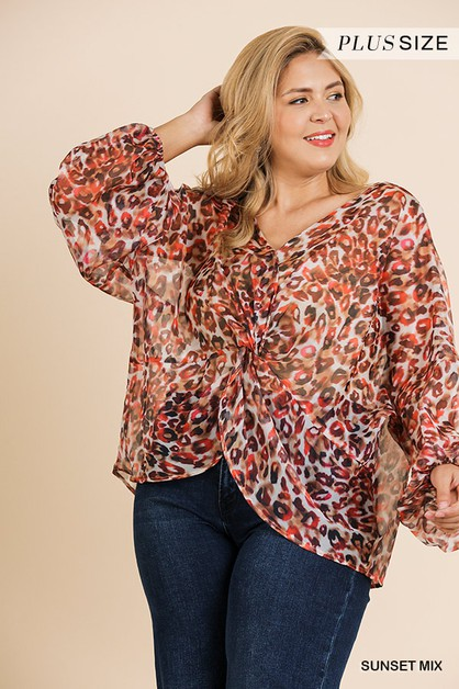 Sheer Animal Puff Sleeve Top  - orangeshine.com
