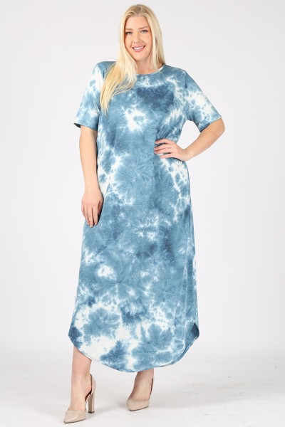 PLUS SIZE TIE DYE PRINT MAXI DRESS W - orangeshine.com