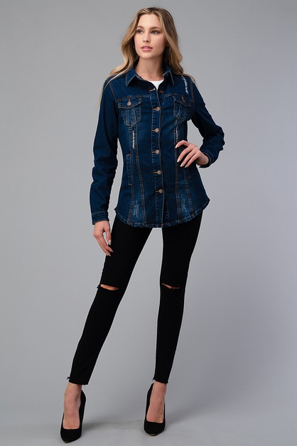 Womens Distressed Denim Shirt Jacket - orangeshine.com