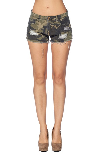CAMOUFLAGE NON STRETCH MINI SHORT - orangeshine.com