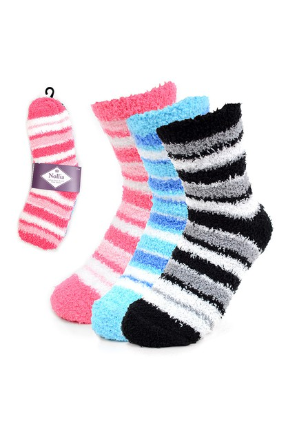 Assorted 3 Pairs Women Striped Sock - orangeshine.com