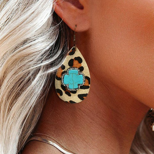 Turquoise Leopard Leather earring - orangeshine.com