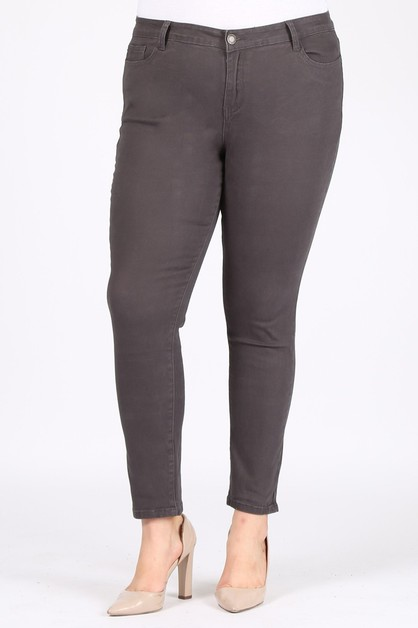 Plus Size Basic Cotton Stretch Pants - orangeshine.com
