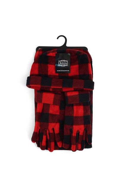 Womens Fleece Red Plaid Winter Set - orangeshine.com