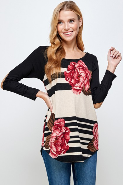 FLORAL STRIPED LONG SLEEVE TOP - orangeshine.com