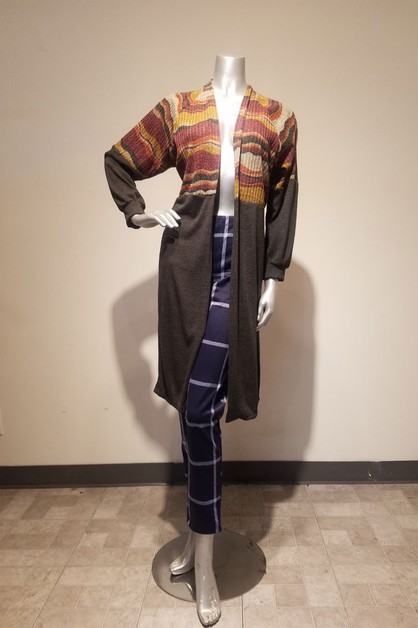 print and solid long cardigan - orangeshine.com