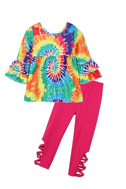 Tie dye swirl hallowout legging set - orangeshine.com