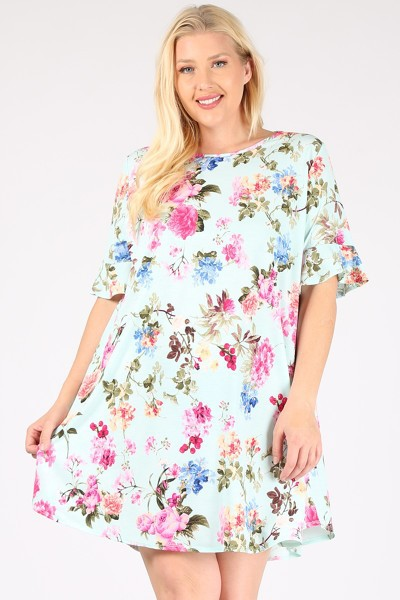 PLUS SIZE RUFFLE SLEEVES FLOWER PRIN - orangeshine.com