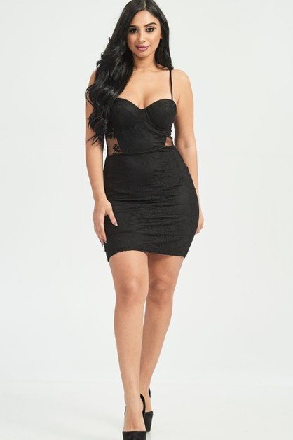 LACE PANELLED BODYCON DRESS - orangeshine.com