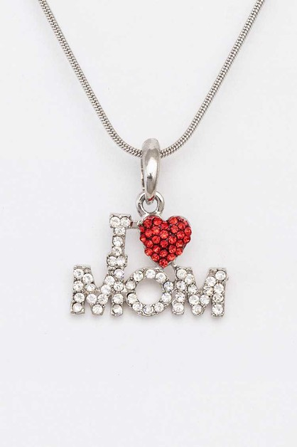 I Love MOM Crystal Pendant Necklace - orangeshine.com