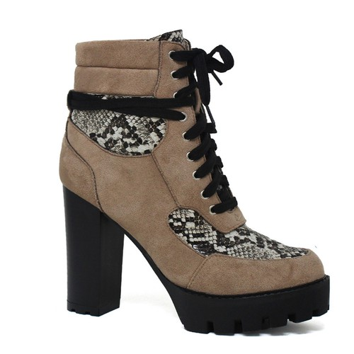 WOMENS PLAID LACE UP CHUNKY BOOTS - orangeshine.com